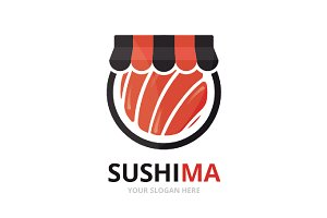 Vector sushi and shop logo