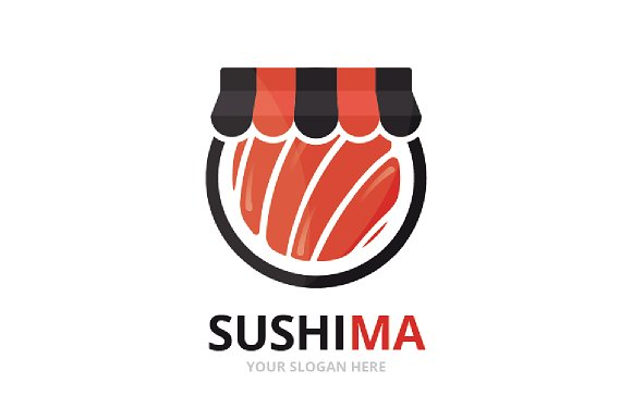 Vector Sushi And Shop Logo Combination Japanese Food And Sale Symbol Or Icon Unique Seafood And Market Logotype Design Template