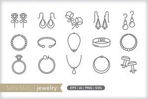 Minimal jewelry icons