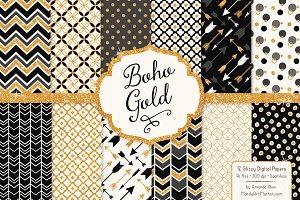 Black Bohemian Glitter Digital Paper