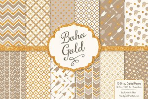 Champagne Bohemian Glitter Patterns