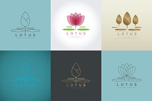 Set of Isolated abstract Lotus Logo