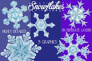 5 Illustrated Snowflakes