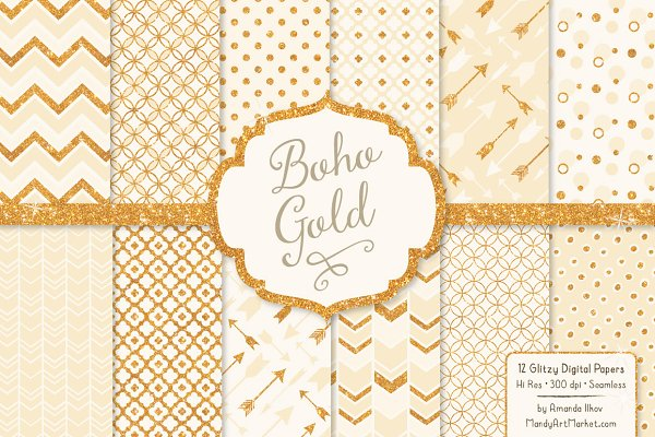 Cream Glitter Bohemian Patterns