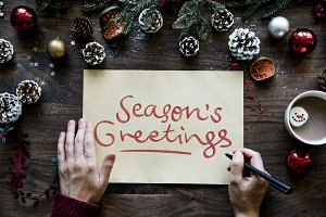 Writing a Season's Greetings card