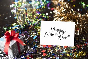 Happy New Year card in a party