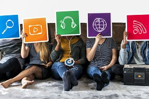 People holding icons