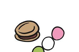 Japanese desserts illustration