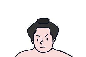 Serious Japanese sumo wrestler