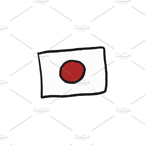 Flag Of Japan Sketch Illustration