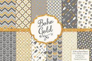 Grey Bohemian Glitter Patterns