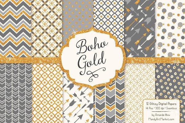 Grey Bohemian Glitter Patterns