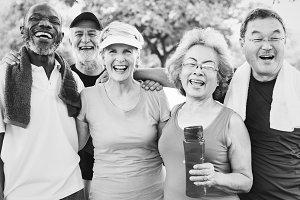 Senior Friends Exercising Together