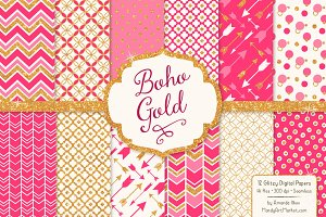 Hot Pink Bohemian Glitter Patterns