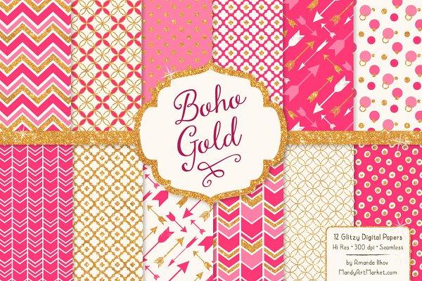 Hot Pink Bohemian Glitter Patterns