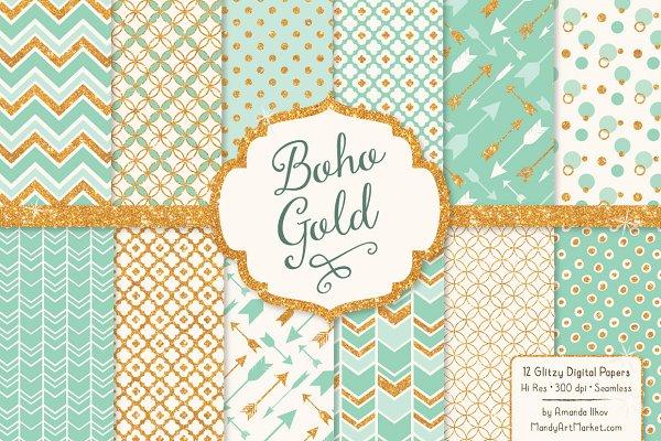 Mint Glitter Bohemian Digital Paper…