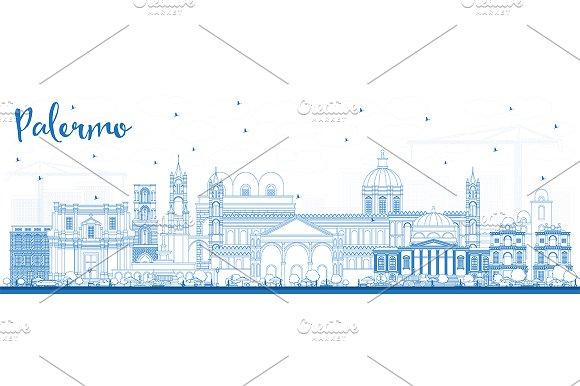 Outline Palermo Italy City Skyline