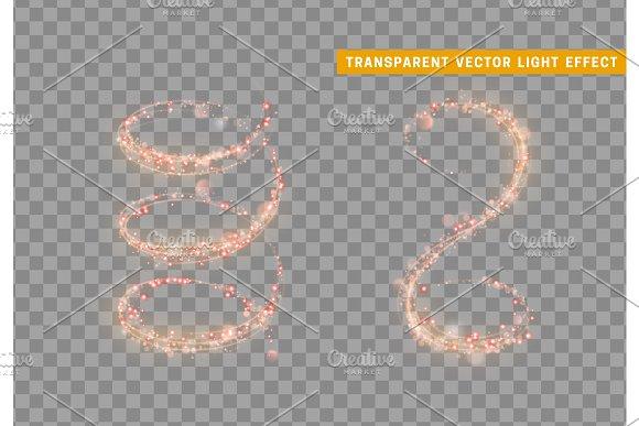 Magic Light Effect Stardust Red Glitter Sparkle Star Dust Vector Illustration