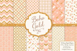 Peach Glitter Digital Papers