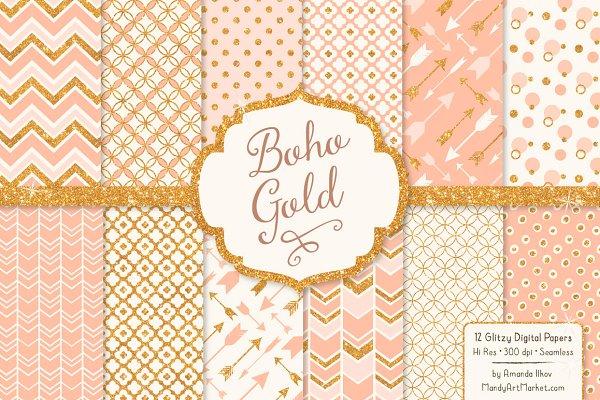Peach Glitter Digital Papers