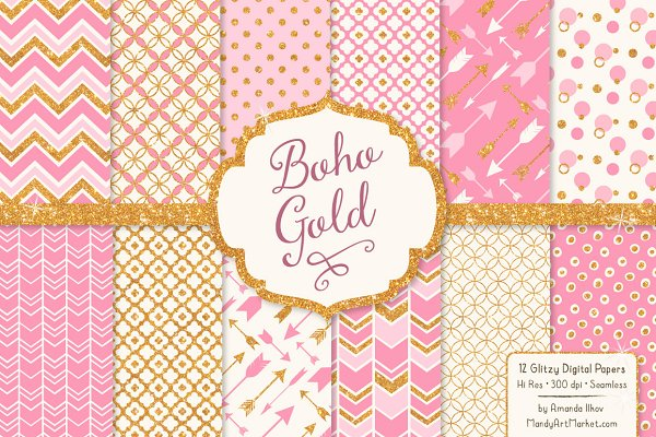 Pink Glitter Bohemian Digital Paper…