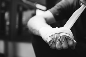 Muay Thai boxer getting ready