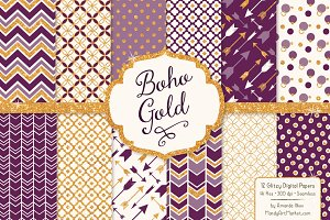 Plum Bohemian Glitter Patterns
