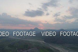 Mountain landscape at sunset. Pinatubo, Philippines.