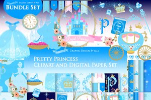 Princess Blue Clipart+Pattern set