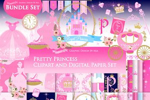 Princess Pink Clipart+Pattern set