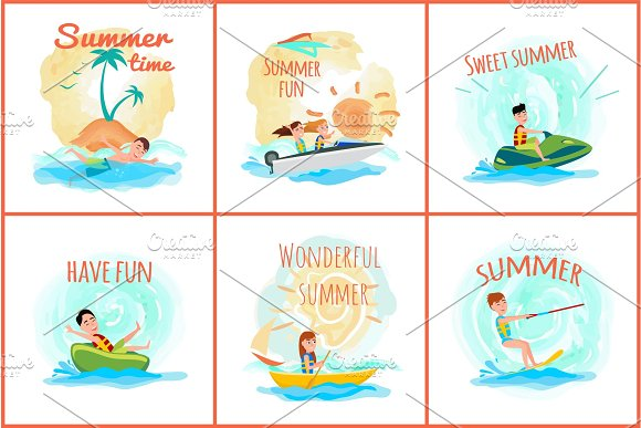 Summer Time Posters Collection Vector Illustration