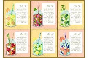 Detox Diet Set of Posters Juicy Drinks of Fruits