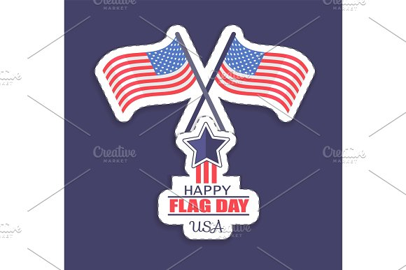 Happy Flag Day USA Poster Vector Illustration