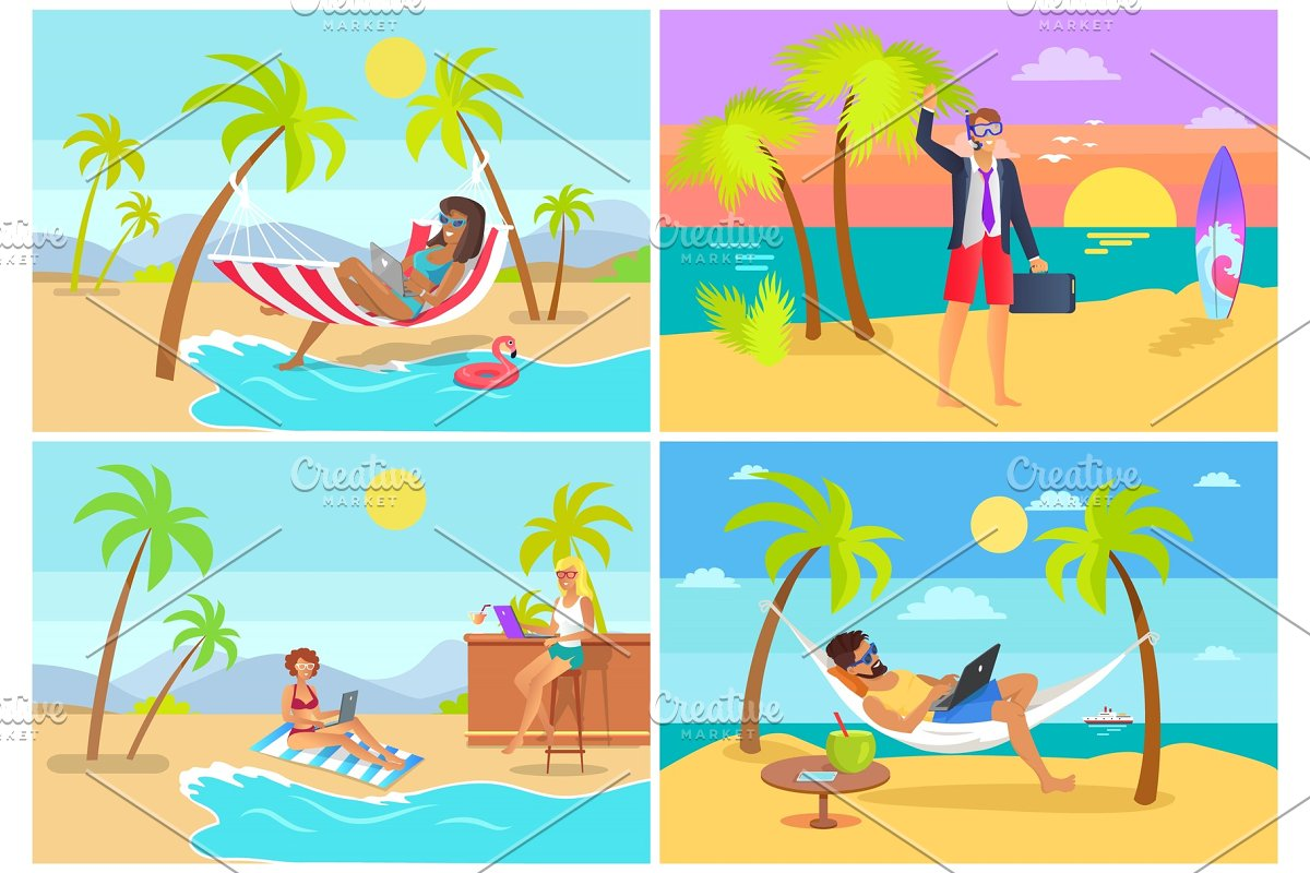 Freelancers Collection Seaside Vector Illustration
