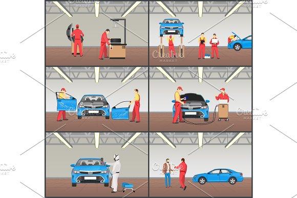 Car Maintenance Stages Set Vector Illustration
