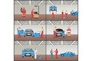 Car Maintenance Stages Set Vector Illustration