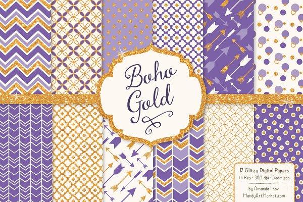 Purple Glitter Bohemian Patterns