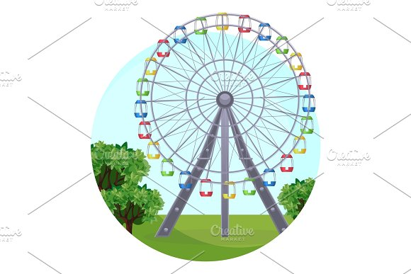 Ferris Big Observation Rotating Wheel In Park At Green Leaves