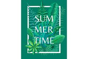 Summertime Background Tropical Green Plants Vector
