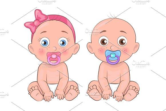 Girl and Boy Little Kids, Vector Illustration
