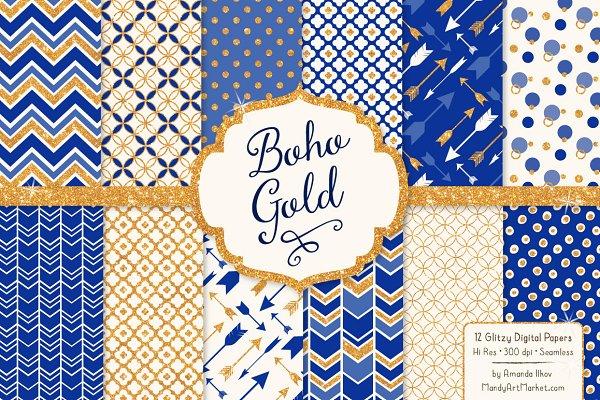Royal Blue & Gold Glitter Patterns