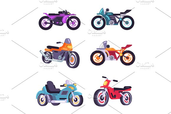 Set Scooter Models Flat Style Design Stylish Moped in Illustrations