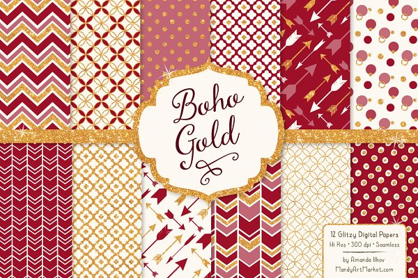 Ruby Red & Gold Glitter Patterns