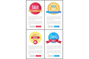 Sale Special Offer Round Labels on Web Posters Set