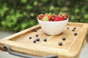 Strawberries in White Ceramic Bowl