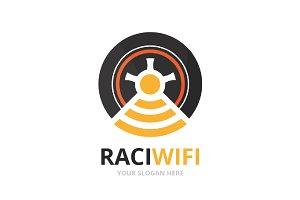 Vector wheel and wifi logo