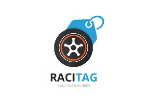Vector wheel and tag logo