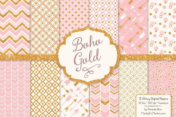 Soft Pink Glitter Patterns