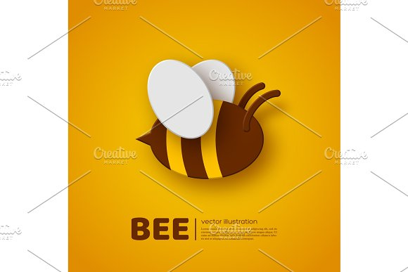 Paper Cut Style Bee Element For Beekeeping And Honey Product Design Yellow Background Vector Illustration
