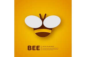 Paper cut style bee. Element for beekeeping and honey product design. Yellow background, vector illustration.